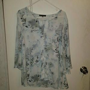 Rose & Olive sheer floral sleeve blouse top 2x